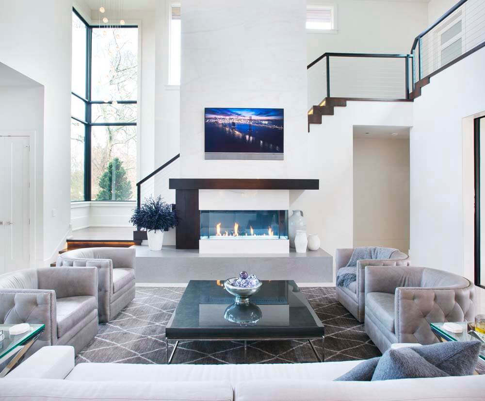 Modern Contemporary - Living and Fireplace
